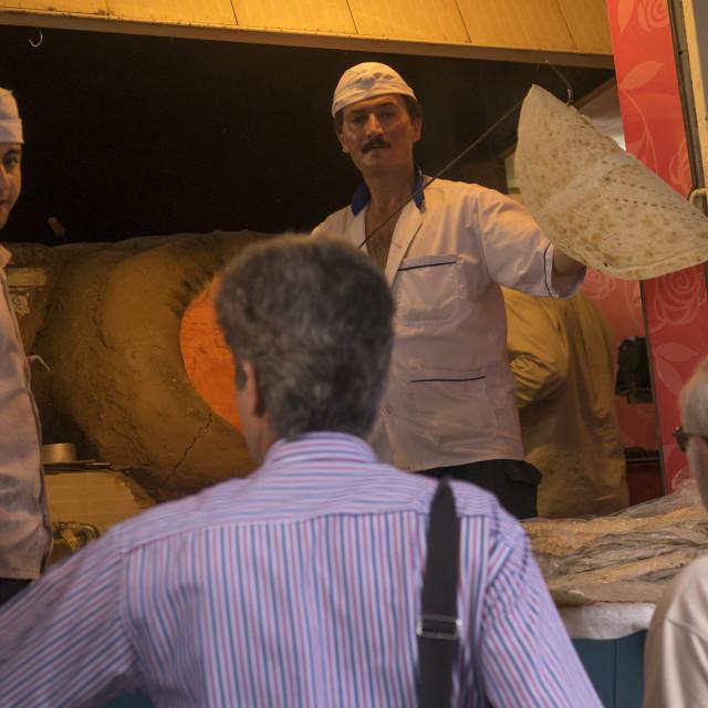 """Baker in tajrish bazaar, Shemiranat county, Tehran, Iran"" stock image"
