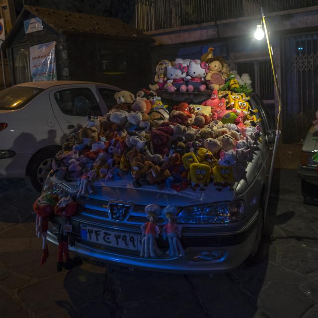 """Toys sold on a car, Shemiranat county, Tehran, Iran"" stock image"