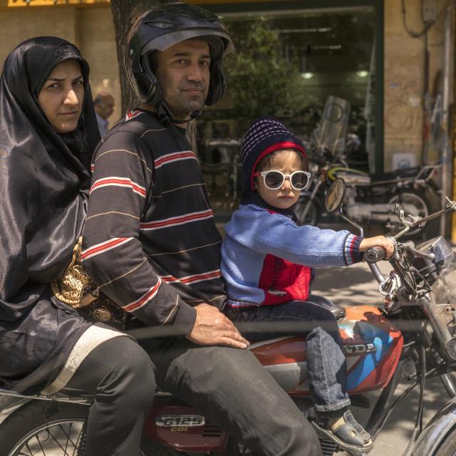 """""""Family on a motorbike, Shemiranat county, Tehran, Iran"""" stock image"""
