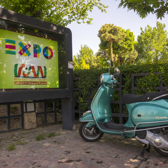 """""""Scooter in front of the tehran museum of contemporary art, Shemiranat county,..."""" stock image"""