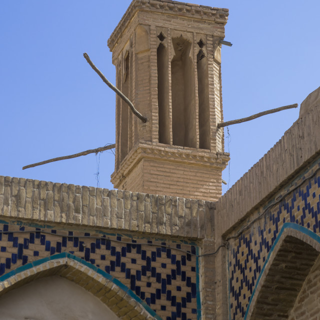 """Windtower of traditional house, Isfahan province, Kashan, Iran"" stock image"