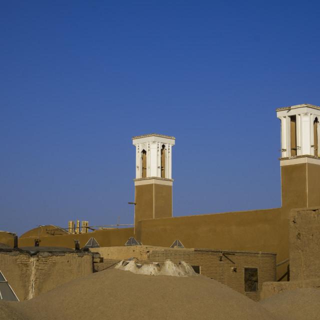 """Windtowers of traditional house, Isfahan province, Kashan, Iran"" stock image"