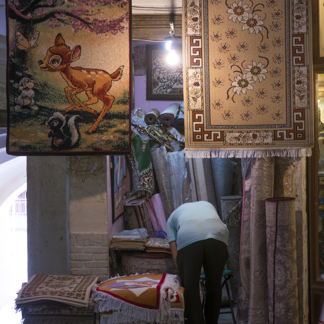 """Bambi carpet in the bazaar, Isfahan province, Kashan, Iran"" stock image"