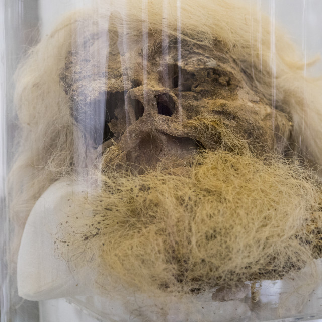 """Salt man exhibit at the the national museum, Shemiranat county, Tehran, Iran"" stock image"