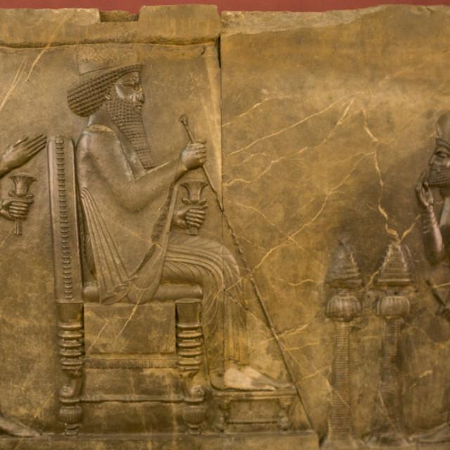 """Audience scene of darius in the national museum, Shemiranat county, Tehran, Iran"" stock image"