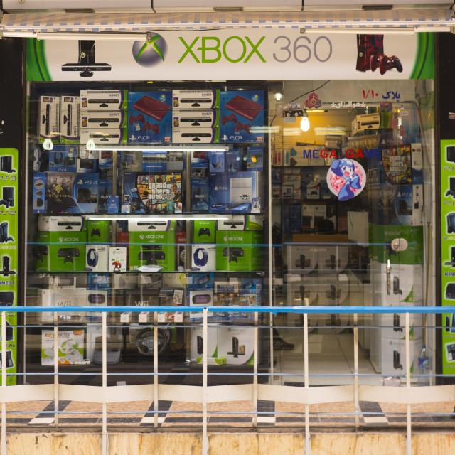 """Electronics shop selling xbox and ps4, Shemiranat county, Tehran, Iran"" stock image"