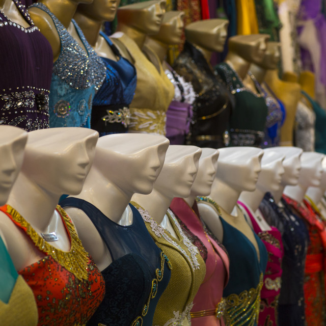 """""""Mannequins with heads hald cut in the bazaar, Isfahan province, Isfahan, Iran"""" stock image"""