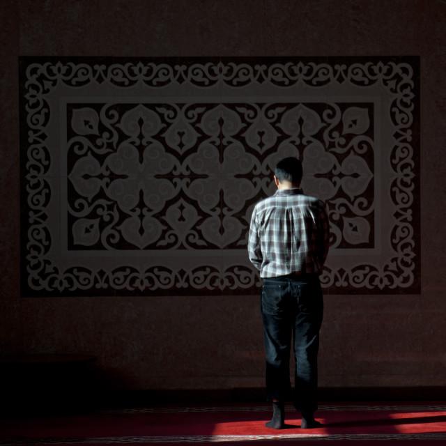 """Men Prating In Nur Astana Mosque, Astana, Kazakhstan"" stock image"
