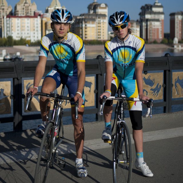 """Cyclists With Astana Cycling Suits, Kazakhstan"" stock image"