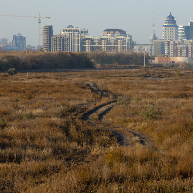 """Astana Viewed From The Steppe, Kazakhstan"" stock image"