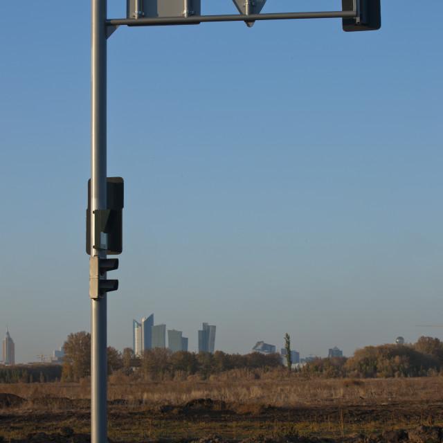"""""""Traffic Light In The Steppe, Astana, Kazakhstan"""" stock image"""
