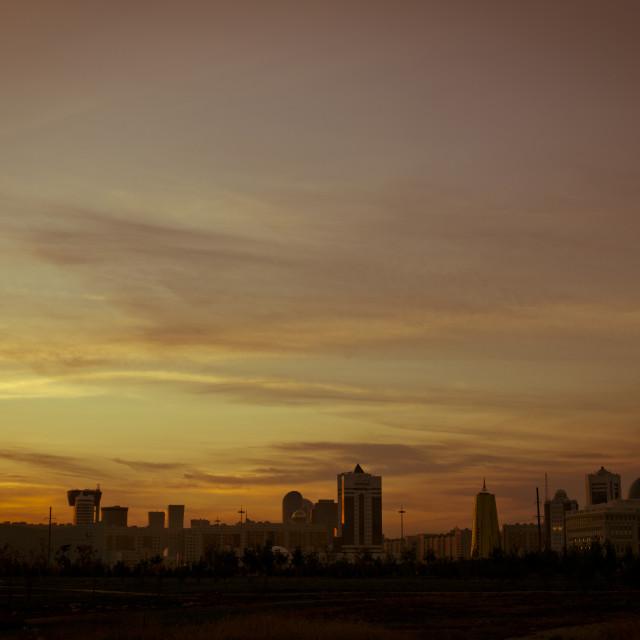 """Astana Skyline At Sunset, Kazakhstan"" stock image"