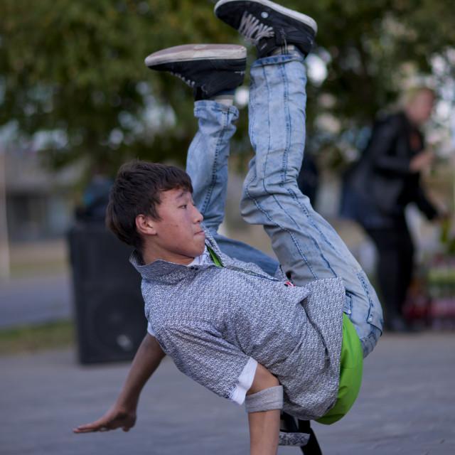 """""""Break Dancer In Action In Astana, Kazakhstan"""" stock image"""