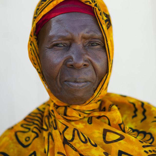 """Mid Adult Woman Wearing Yellow Veil Portrait, Lamu, Kenya"" stock image"
