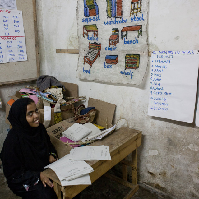 """Teacher With Hijab In Classroom, Stonetown Academy Lamu, Kenya"" stock image"