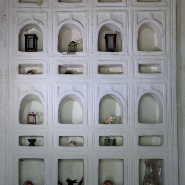 """A Frieze Of Niches In A Wall Of Lamu Antique Umma House, Lamu, Kenya"" stock image"