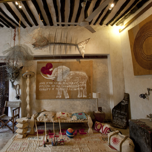 """""""The Indoors Of An Art And Handcrafts Gallery In Shela, Lamu, Kenya"""" stock image"""