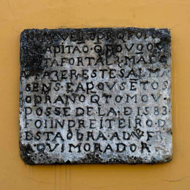 """Old Inscription Inside The Old Portuguese Fort, Maputo, Mozambique"" stock image"