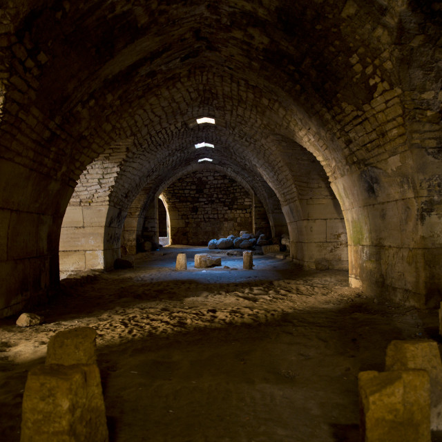 """""""Inside the Crusader Fortress, Krak des Chevaliers, Homs, Syria"""" stock image"""