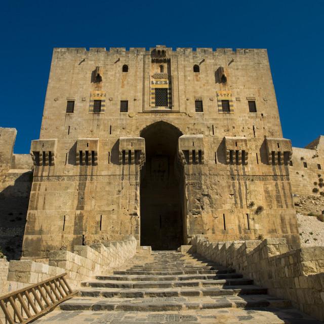 """Aleppo Citadel Main Gate, Syria"" stock image"