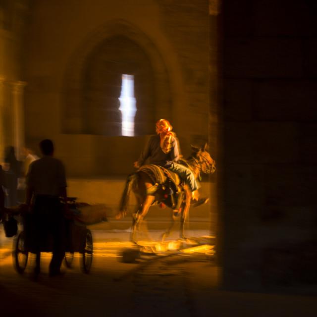 """Horseman at Bab Qennesrine, Aleppo, Syria"" stock image"