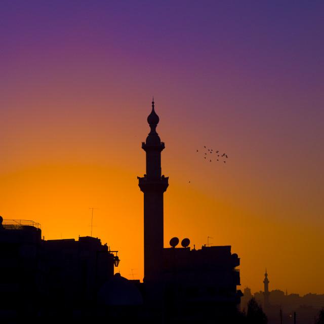 """Minaret In The Sunset, Aleppo, Syria"" stock image"