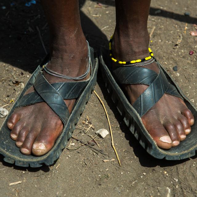 """""""Tanzania, Ashura region, Ngorongoro Conservation Area, close up of leather..."""" stock image"""