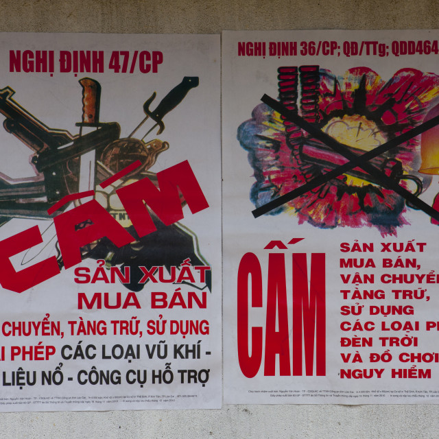 """""""Poster Of An Awareness Campaign Against Firecrackers, Sapa, Vietnam"""" stock image"""