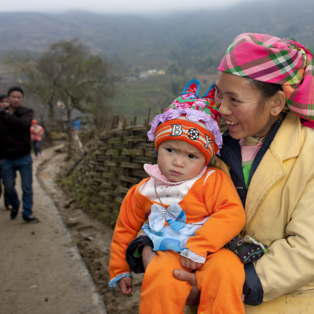 """""""Giay Woman With Her Baby In Her Arms, Sapa, Vietnam"""" stock image"""