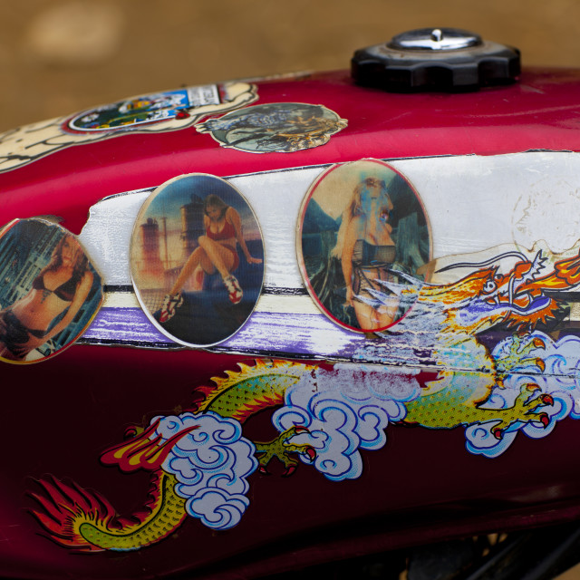 """""""Motorike Decorated With A Dragon And Bimbo Pictures, Sapa, Vietnam"""" stock image"""