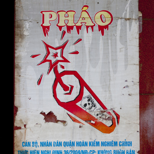 """""""Poster Warning About The Dangers Of Firecrackers, Hanoi, Vietnam"""" stock image"""