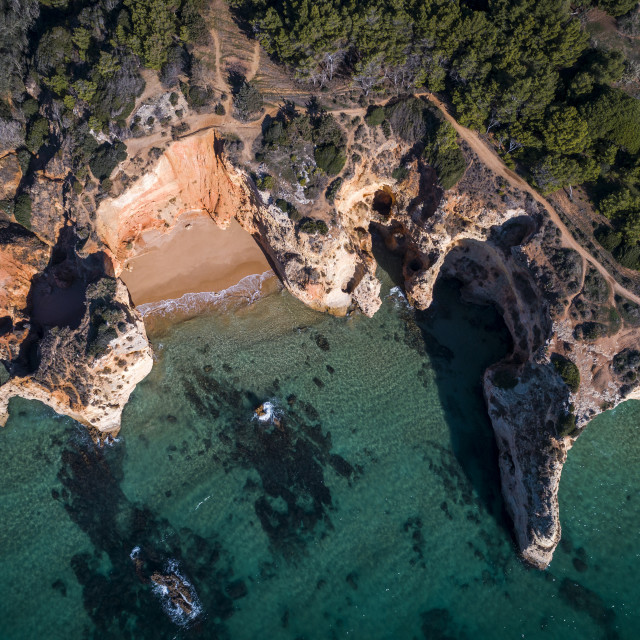 """Aerial view of the coastline in the Praia do Alemao in Portimao, Algarve, Portugal; Concept for travel in Portugal and Algarve"" stock image"