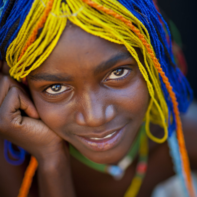 """Mudimba Girl With A Beaded Wig Called Misses Ena, Village Of Combelo, Angola"" stock image"
