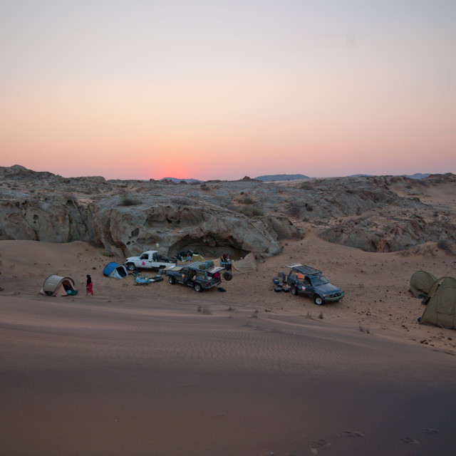"""Tourists On Camp In The Namib Desert For The Night, Iona National Park, Angola"" stock image"
