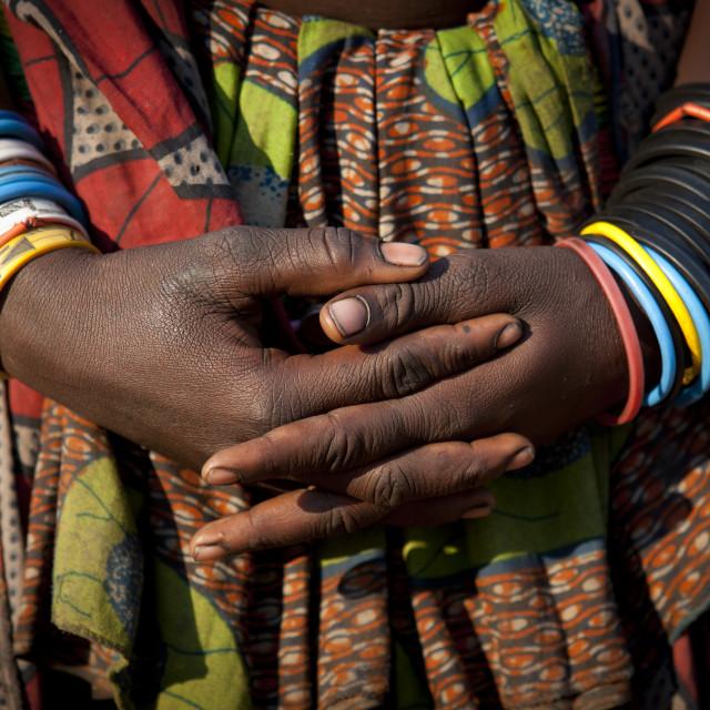 """Mucawana Woman S Bracelets, Village Of Mahine, Angola"" stock image"