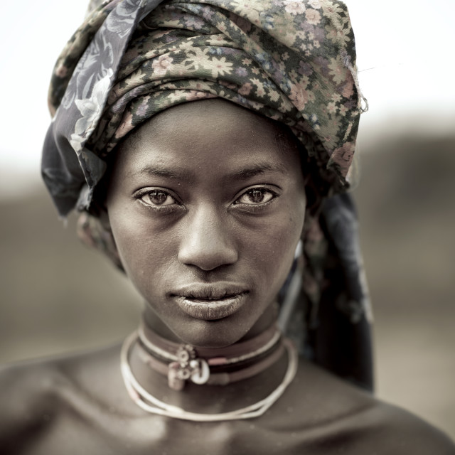 """Young Mukubal Woman With Headscarf"" stock image"