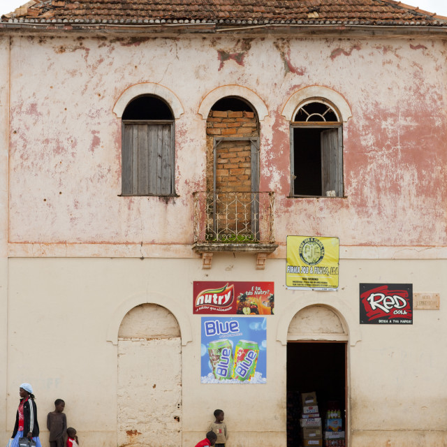 """""""Kids In Front Of A Store In The Street, Vila Nova, Angola"""" stock image"""