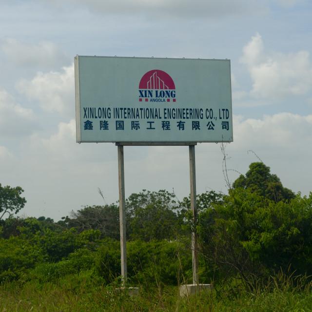"""Hoarding Of Chinese Company, Luanda, Angola"" stock image"