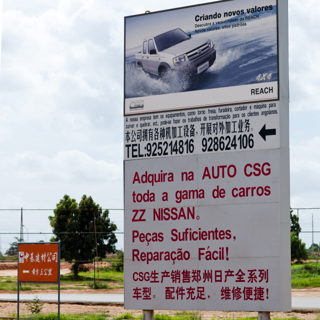 """""""Road Signs Indicating The Direction Of A Chinese Company, Luanda, Angola"""" stock image"""