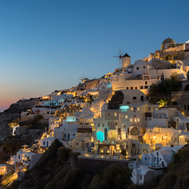 """Twilight at Oia village , Santorini"" stock image"