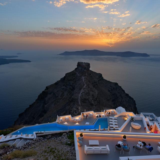 """An amazing sunset at Imerovigli , Santorini"" stock image"