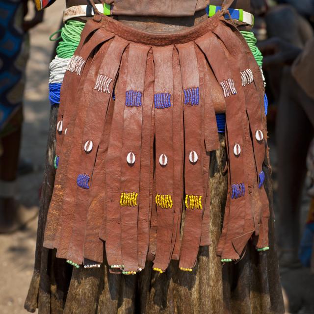 """""""Apron Of A Mucawana Woman, Village Of Soba, Angola"""" stock image"""