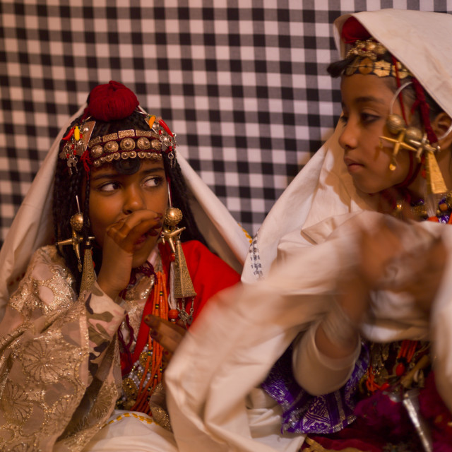 """Ghadames Tuareg girls in traditional dress, Libya"" stock image"