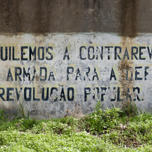 """Old Cuban Propaganda Message By Fidel Castro, Lubango, Angola"" stock image"