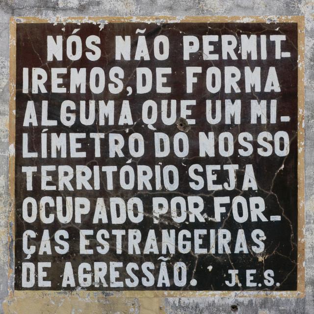 """Communist Propaganda Message By President Dos Santos, Lubango, Angola"" stock image"