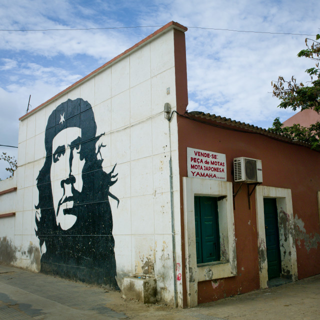 """Wall Painting Representing Che Guevara On A House, Sumbe, Angola"" stock image"