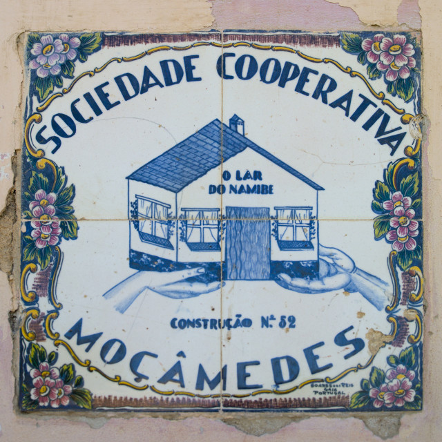 """Porcelain Plate Of A Cooperative In Namibe Town, Angola"" stock image"