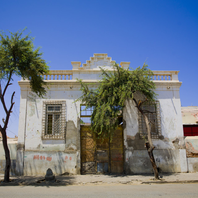 """Old Colonial House Entrance, Namibe Town, Angola"" stock image"