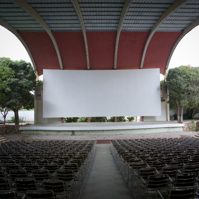 """""""Seats Of The Impala Outdoor Cinema Theater, Namibe Town, Angola"""" stock image"""