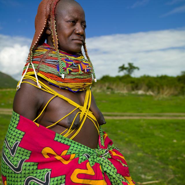"""""""Mwila Woman Wearing A Colourful Toga, Chibia Area, Angola"""" stock image"""